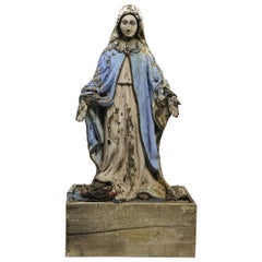 Carved Wood Polychrome Virgin Mary Statue