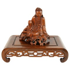 Carved Boxwood Figure of Guangin on Wood Base, 19th Century