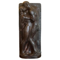Carved Wood Sculpture of Couple Embracing, 20th Century