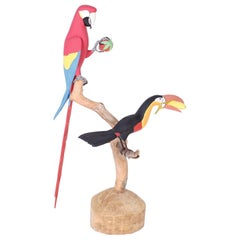 Carved Wood Sculpture of Two Birds in a Tree