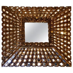 Carved Wood Square Spanish Mirror
