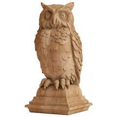 """Carved Wood Statue """"Owl"""", Newel Post Topper"""