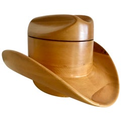 Carved Wood Stetson Hat Form Ice Bucket by Alfonso Bini, Italy