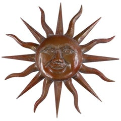 Carved Wood Sun Face, Signed, Dated