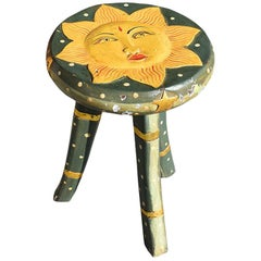 Carved Wood Sun Stool or Drinks Table in Green and Gold Indonesia