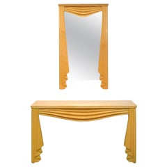 """Carved Wood Surrealist """"Drapery"""" Console and Mirror"""