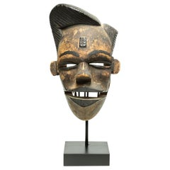 Carved Wood Tribal Ogoni Mask with Movable Jaw, Stylish Hair, Nigeria