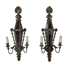 Carved Wood Venetian Mirrored Sconces, circa 1920s, Pair