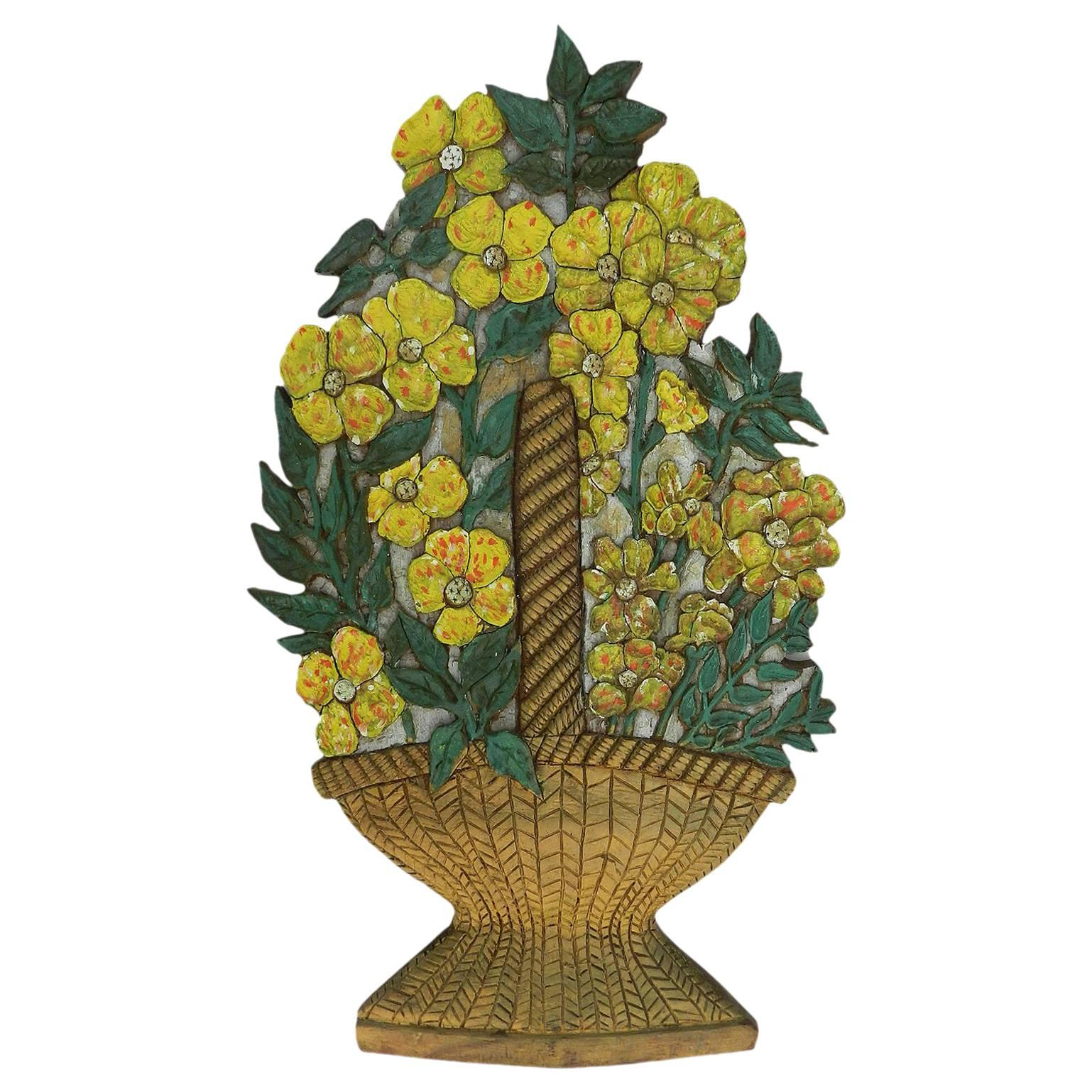 Art Deco Carved Wood Wall Plaque Flowers Signed Relief Painted Floral Basket