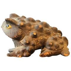 Carved Wood Wart Frog