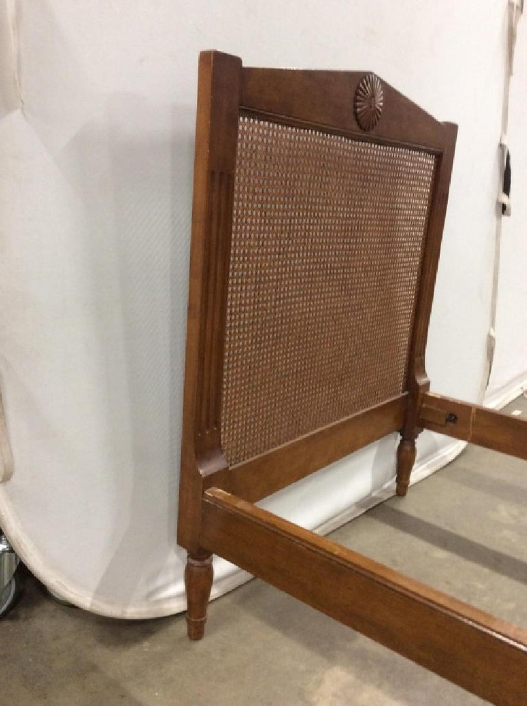 Carved Wood with Caned Headboard Bed Stand In Good Condition For Sale In Great Barrington, MA