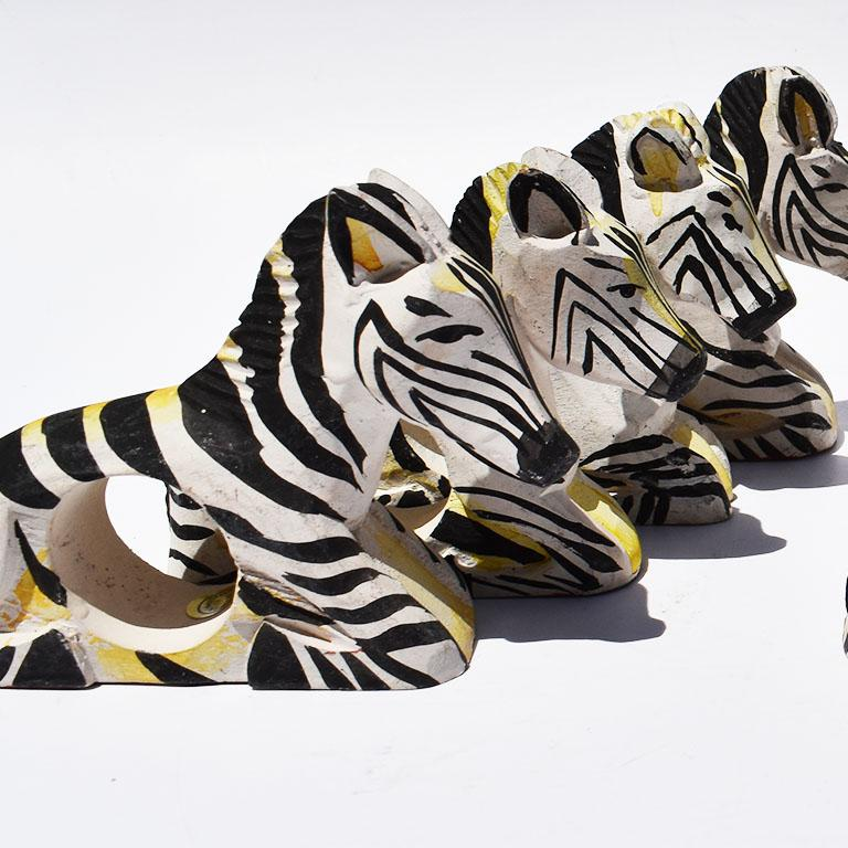Folk Art Carved Wood Zebra Animal Napkin Rings in Black and White, Set of 8 Philippines For Sale
