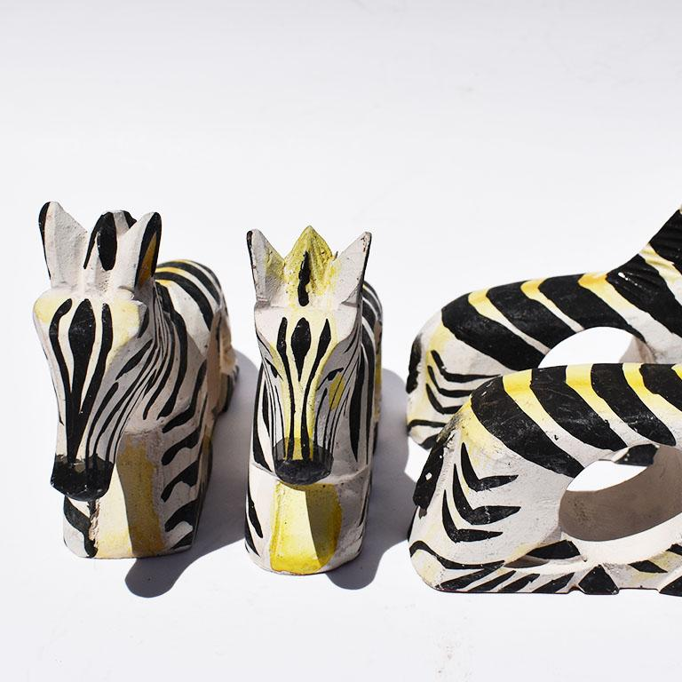 20th Century Carved Wood Zebra Animal Napkin Rings in Black and White, Set of 8 Philippines For Sale