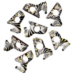 Carved Wood Zebra Animal Napkin Rings in Black and White, Set of 8 Philippines