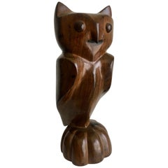 Carved Wooden Folk Art Owl