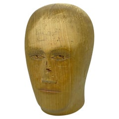 Carved Wooden Milliners Head, Antique German, circa 1900s