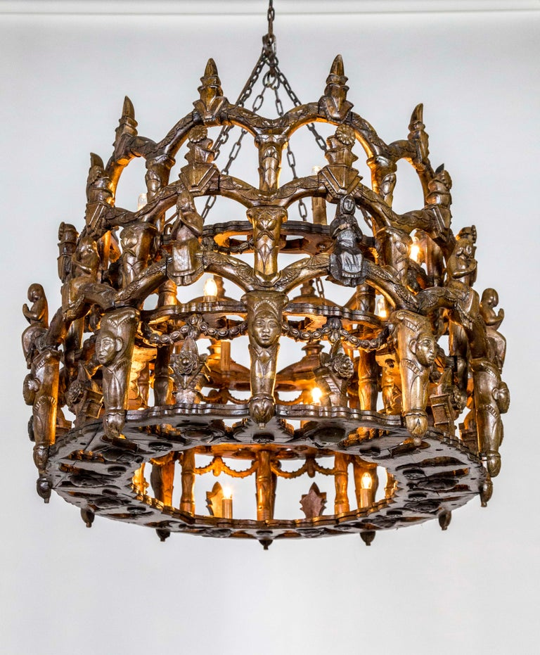 Carved Wooden S. American Folk Chandelier with Figures and Arches For Sale 4