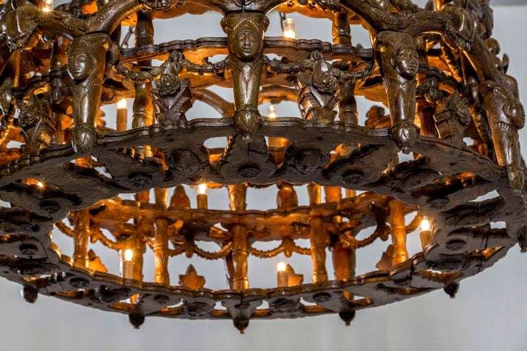 Carved Wooden S. American Folk Chandelier with Figures and Arches For Sale 7