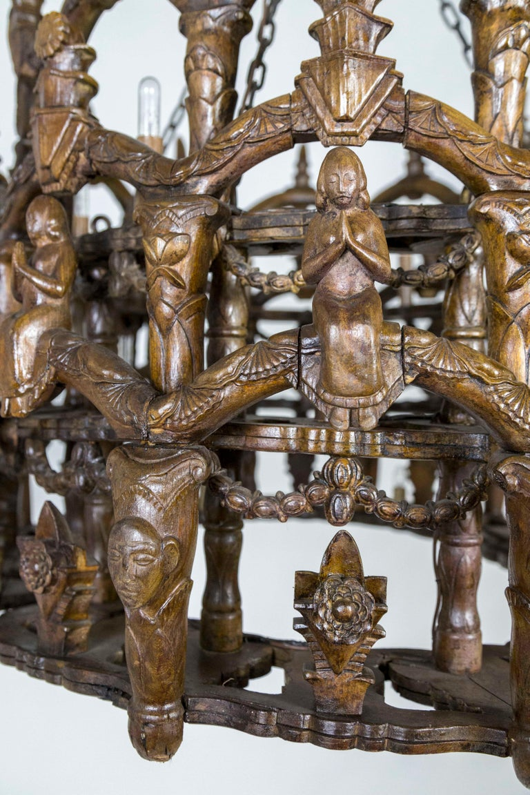 19th Century Carved Wooden S. American Folk Chandelier with Figures and Arches For Sale