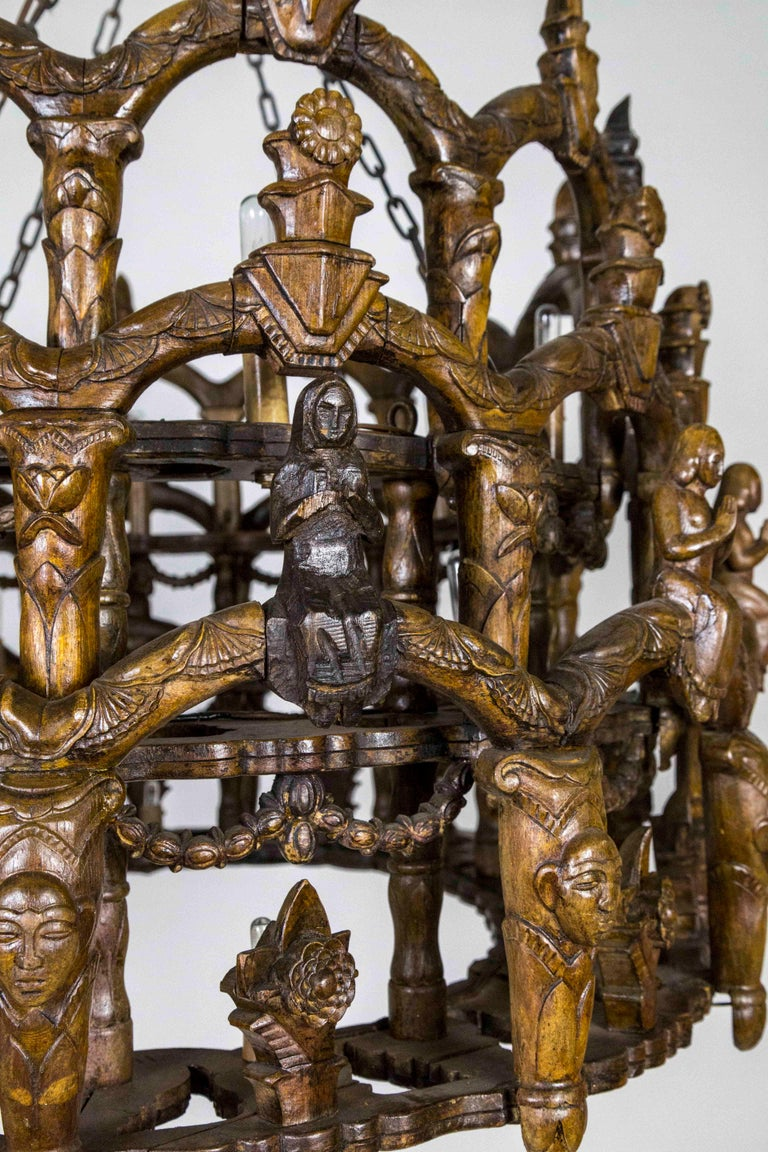 Carved Wooden S. American Folk Chandelier with Figures and Arches For Sale 1