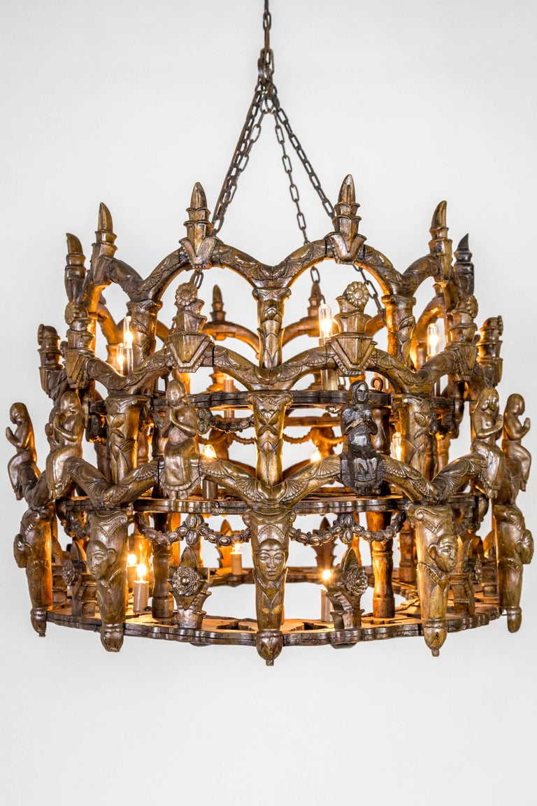 Carved Wooden S. American Folk Chandelier with Figures and Arches For Sale 3