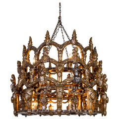 Carved Wooden S. American Folk Chandelier with Figures and Arches
