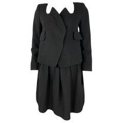 Carven Black Wool Blazer Jacket and Flare Mini Skirt Set, Size 38
