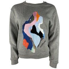 Carven Grey Sweatshirt Pullover Top, Size Medium