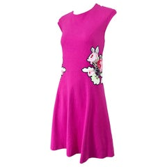 Carven Hot Pink Bouquet of Roses Sleeveless Cotton A - Line Dress Size Medium