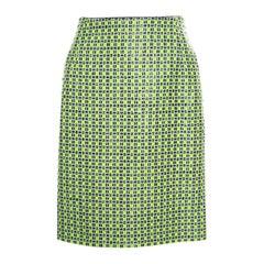 Carven Kiwi Green Textured Checkered Pencil Skirt S