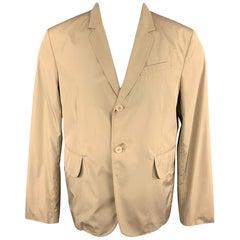 CARVEN Size 42 Khaki Polyester Notch Lapel Sport Coat