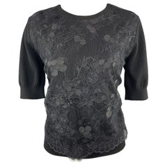 CARVEN Size L Black Merino Wool Lace Overlay Short Sleeve Pullover