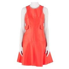 Carven Tangerine Cotton Silk Drop Waist Sleeveless Dress L