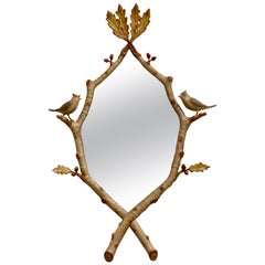 Carvers Guild Songbirds Mirror Carved Birds Done in Antique Gold Leaf Finish