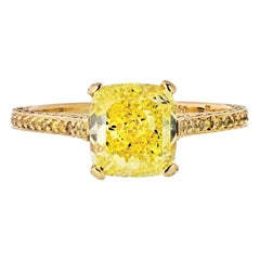 Carvin French 2 Carat Cushion Cut Diamond Fancy Intense Yellow Engagement Ring