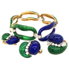 Carvin French Enamel and Diamond Jewelry Ensemble