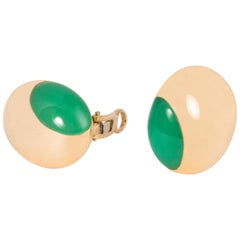 Carvin French Gold and Chrysophrase Earrings