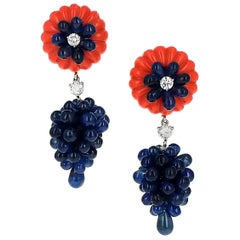 Carvin French Sapphire Coral Diamond Gold Dangle Drop Earrings