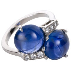 Carvin French Unheated Burma Sapphire and Diamond Platinum Ring
