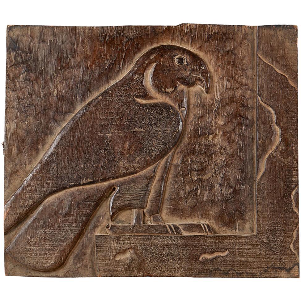 Carving Panel Horus God Falcon Ancient Egyptian 19th Century, Wood