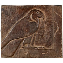 Carving Panel Horus God Falcon Ancient Egyptian 19th Century, Wood