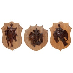 Carvings Three Pheasant Partridge Salmon Eel Gamebird Shield Shooting Interest