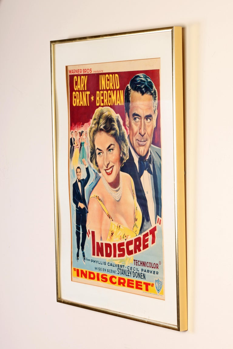 Belgian Cary Grant and Ingrid Bergman Indiscret Movie Poster, circa 1958 For Sale