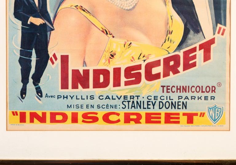 Cary Grant and Ingrid Bergman Indiscret Movie Poster, circa 1958 In Good Condition For Sale In New York, NY