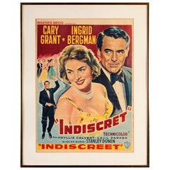 Cary Grant and Ingrid Bergman Indiscret Movie Poster, circa 1958