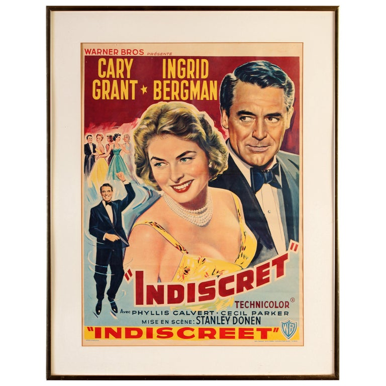 Cary Grant and Ingrid Bergman Indiscret Movie Poster, circa 1958 For Sale