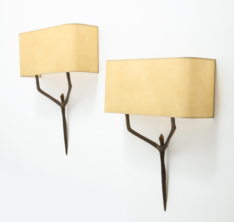Mid-Century Modern Caryatides Bronze Sconces by Felix Agostini, France, 1960 For Sale