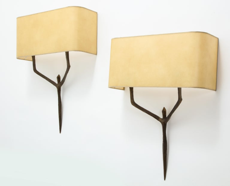 Patinated Caryatides Bronze Sconces by Felix Agostini, France, 1960 For Sale