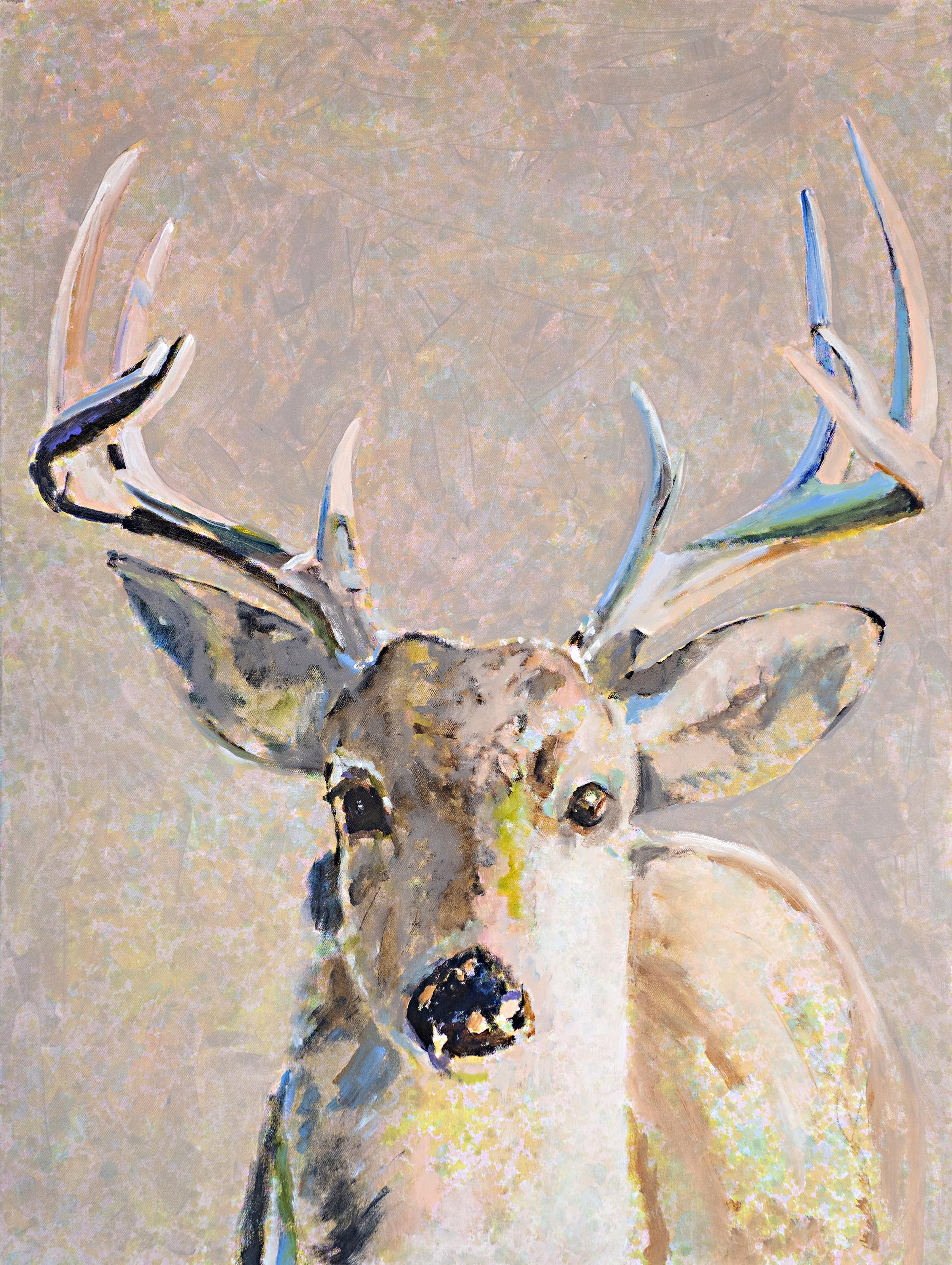 As A Deer by Carylon Killebrew, Large Vertical Mixed Media Deer Painting Gray