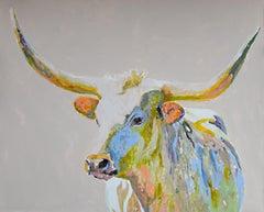 Esther by Carylon Killebrew, Large Horizontal Mixed Media Longhorn Painting Gray